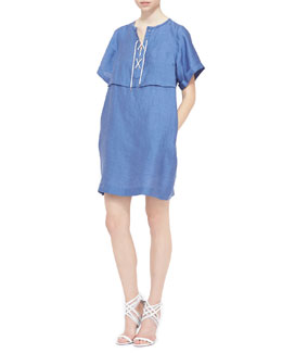 Burberry Brit Lace-Front Short-Sleeve Tunic Dress, Lupine Blue