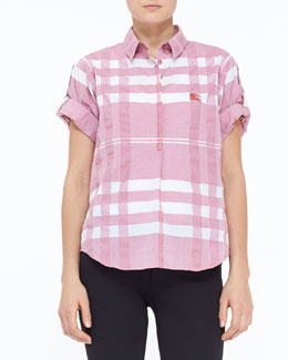 Burberry Brit Check Seersucker Woven Top, Berry Red