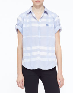 Burberry Brit Check Seersucker Woven Top, Light Blue