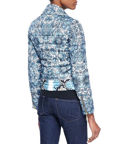 Cyan Kennet-Print Short Light Puffer Jacket, Light Blue
