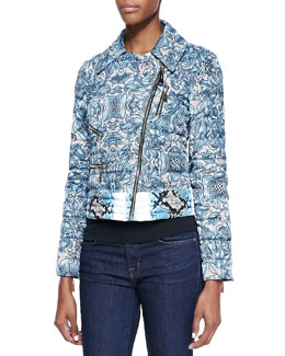 Just Cavalli Cyan Kennet-Print Short Light Puffer Jacket, Light Blue