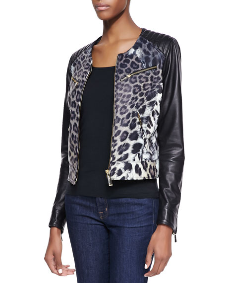 Leopard Print Degrade Leather Moto Jacket