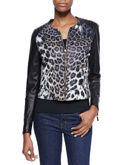 Just Cavalli Leopard Print Degrade Leather Moto Jacket