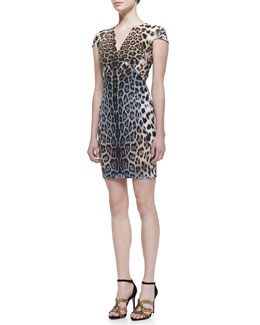 Just Cavalli Degrade Leopard Print Cap-Sleeve Dress