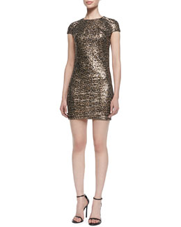 Just Cavalli Sequined Leopard-Print Short-Sleeve Minidress