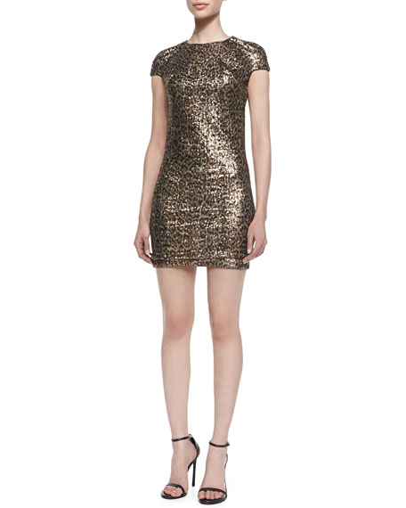 Sequined Leopard-Print Short-Sleeve Minidress