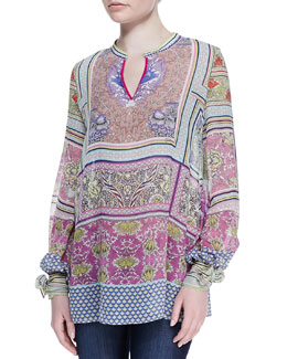 Just Cavalli Morris Printed Silk Chiffon Blouse, Multicolor