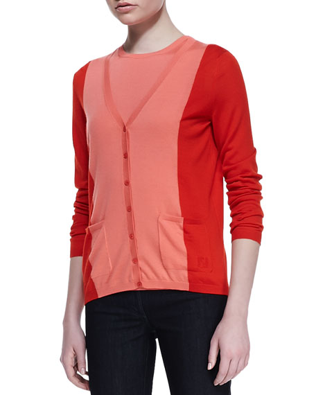 Cashmere Long-Sleeve Patch-Pocket V-Neck Cardigan, Red
