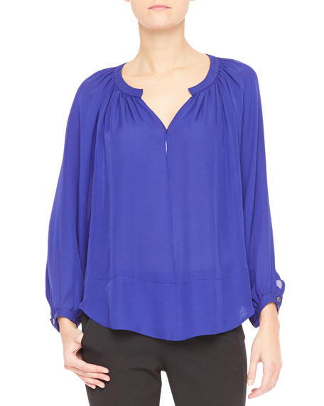 Long-Sleeve Crepe de Chine Blouse, Electric Blue