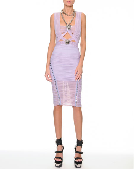 Medusa-Necklace Ruched Banded Dress, Lilac