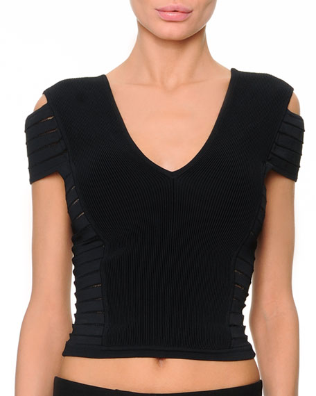 Short-Sleeve Multi-Slit Crop Top, Black
