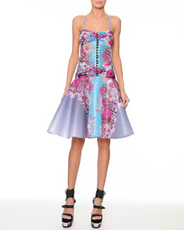 Versace Floral Raffia Corset Dress with Flounce Skirt
