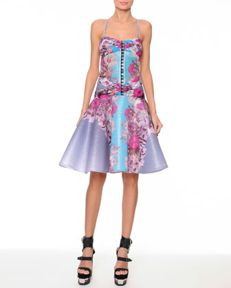 Floral Raffia Corset Dress with Flounce Skirt