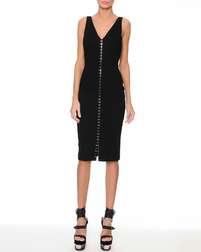 Versace Silver Studded Tank Dress, Black