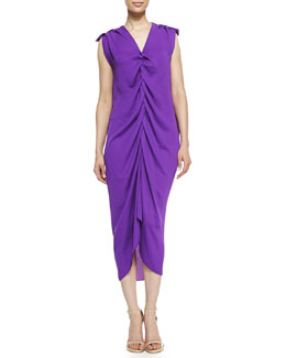 Lanvin Plunging Draped Evening Gown, Purple