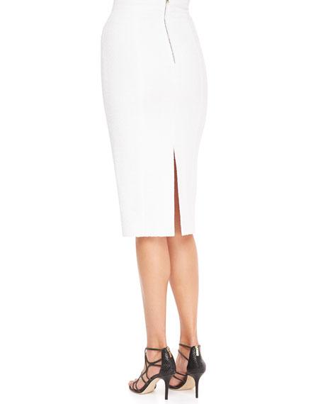 High-Waist Back-Slit Pencil Skirt, White