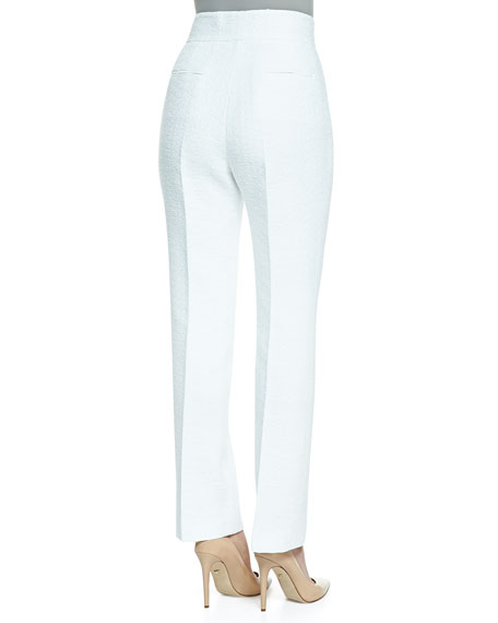Textured High-Waist Slim-Leg Trousers