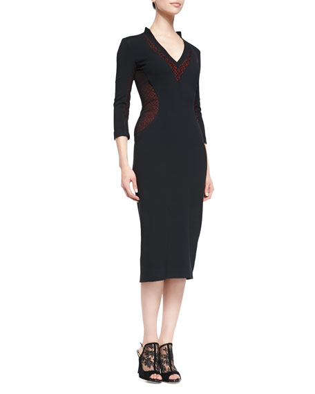 3/4-Sleeve V-Neck Lace Inset Midi Sheath Dress, Black/Red