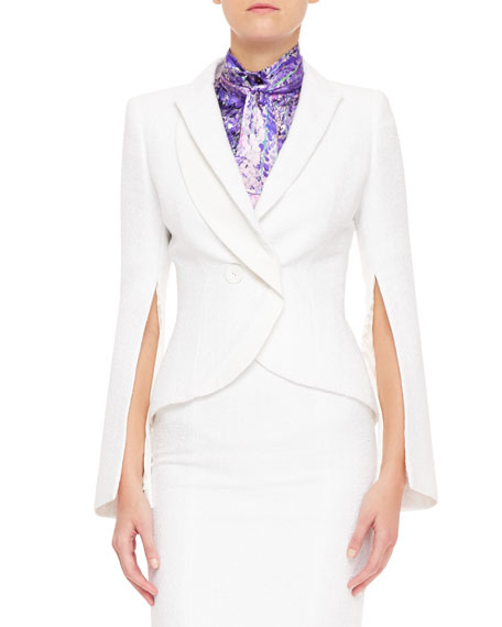 Double-Breasted Zip-Sleeve Blazer, White
