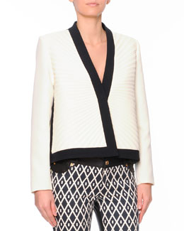Fausto Puglisi Plisse Pleated Short Jacket with Contrast Trim