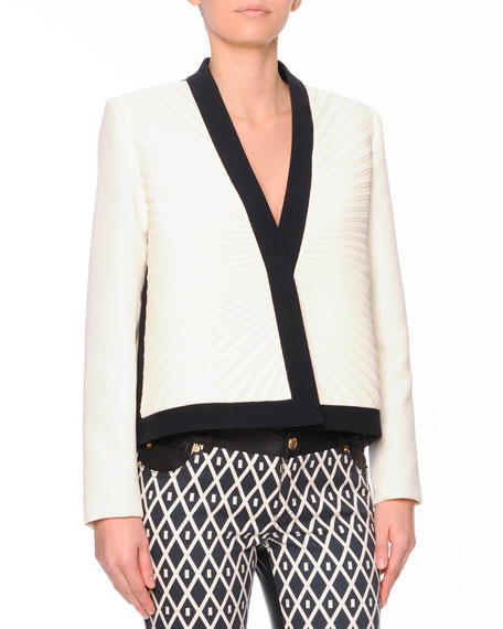 Plisse Pleated Short Jacket with Contrast Trim