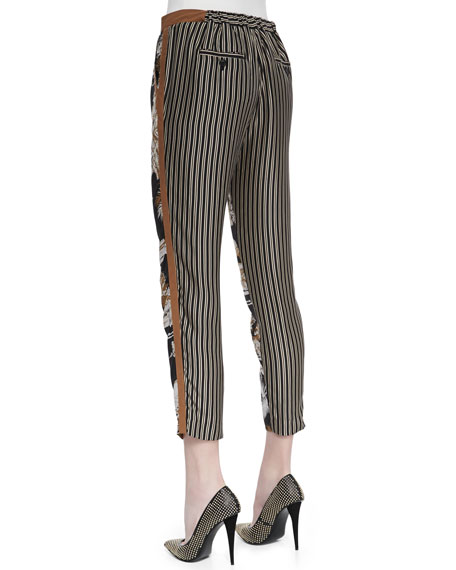 Floral and Striped Silk Pants