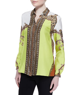 Etro Animal Giraffe Printed Silk Blouse, Citrine/Tan