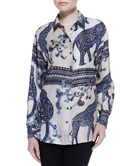 Long Animal Printed Silk Blouse, Blue