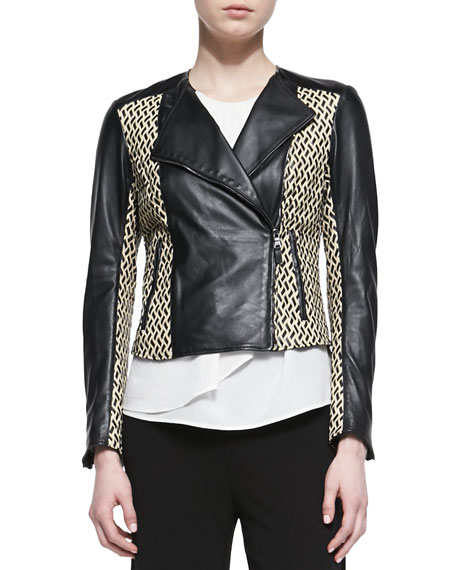 Basketweave Leather Moto Jacket, Black/Ivory