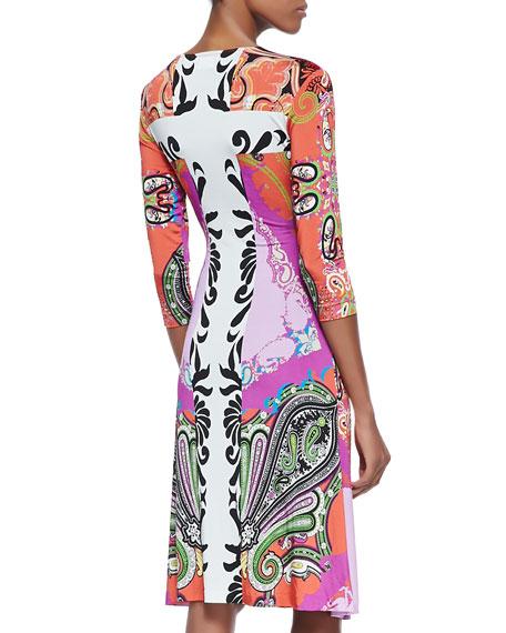 Paisley Jersey 3/4-Sleeve Wrap Dress, Orange/Pink