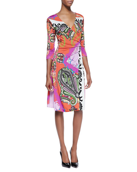 Paisley Jersey 3/4-Sleeve Wrap Dress, Orange/Pink