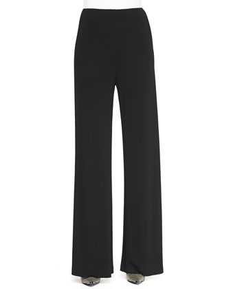 Jersey Crepe Side-Zip Wide-Leg Pants, Black