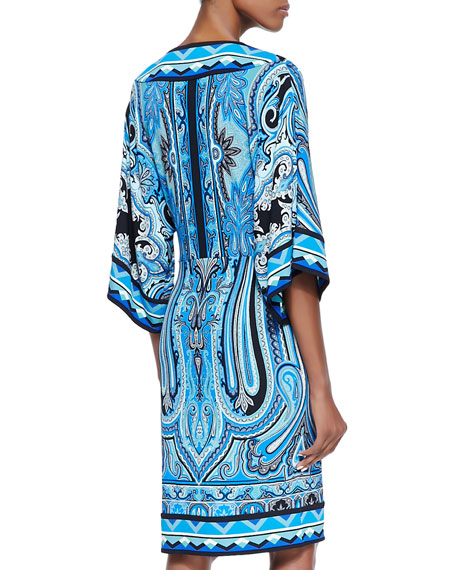 Engineer Paisley Faux-Wrap Column Dress, Blue