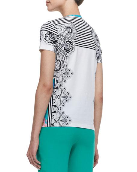 Paisley & Striped T-Shirt, White/Blue