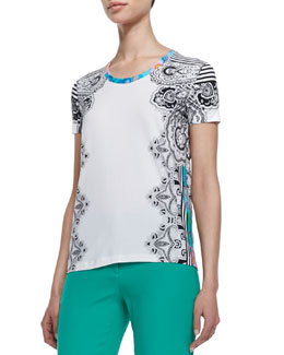 Etro Paisley & Striped T-Shirt, White/Blue