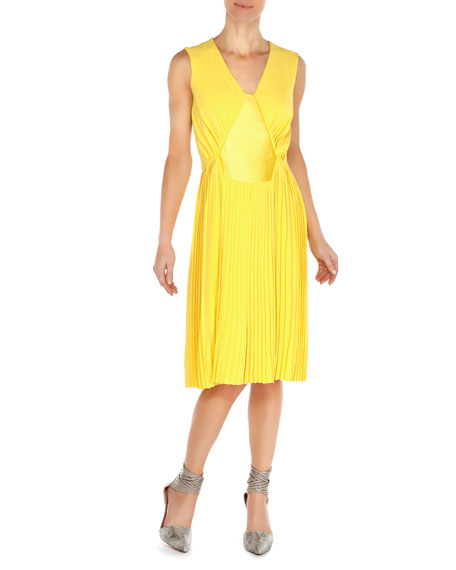 Sleeveless Knife-Pleat Dress