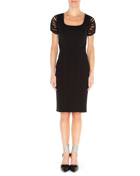 Ribbon-Sleeve Knit Dress