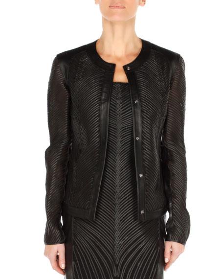 Leather Soutache Cardigan Jacket