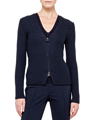 Wool-Cotton Knit Cardigan with Zip, Ink