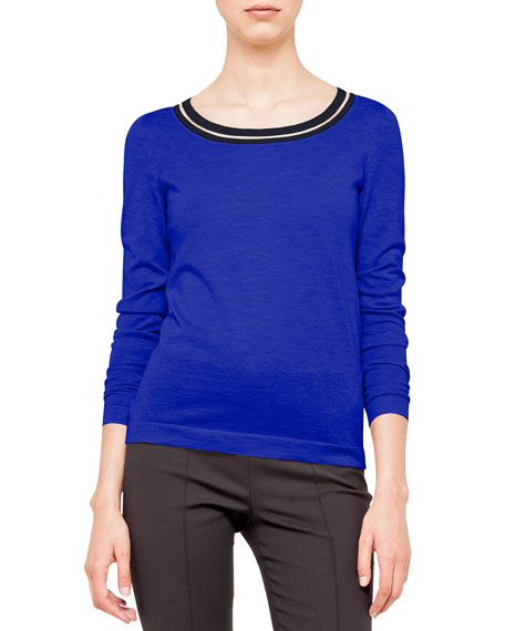 Cashmere-Silk Knit Pullover, Blue