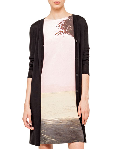 Long Merino Wool Knit Cardigan, Black