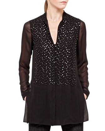 Beaded-Front Sheer Silk Georgette Tunic, Black