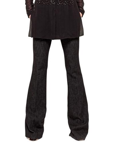 Farrah Cotton Denim Boot-Cut Jeans, Black