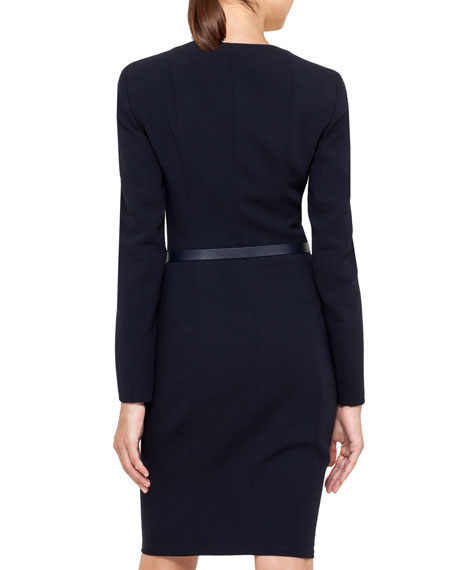 Double-Faced Wool Crepe Dress with Long Sleeves, Ink