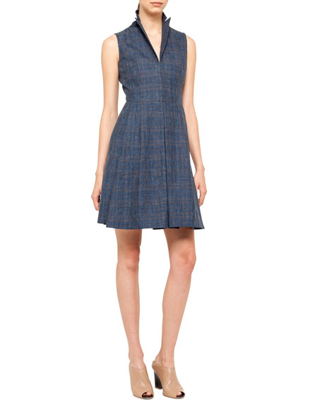Sleeveless Prince of Wales Check Coatdress, Ink