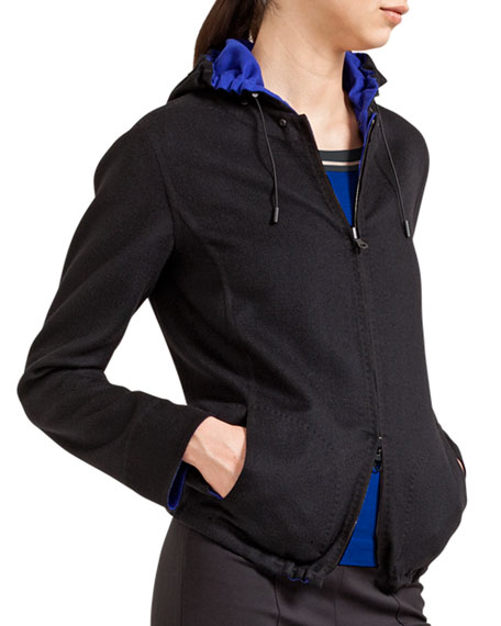 Double-Faced Wool Reversible Jacket with Hood, Black/Blue