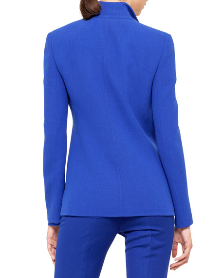 Double-Faced Wool Crepe Jacket, Blue