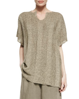 eskandar Mid Plus Split Neck Caftan, Pebbled