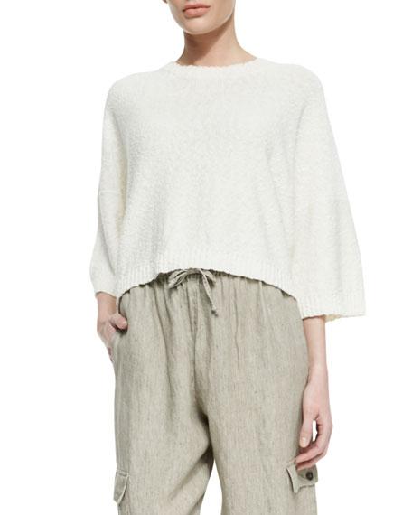 Round-Neck T-Shirt Sweater, Calico