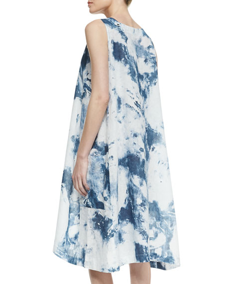 Side Pleat Linen Dress, Denim Blue